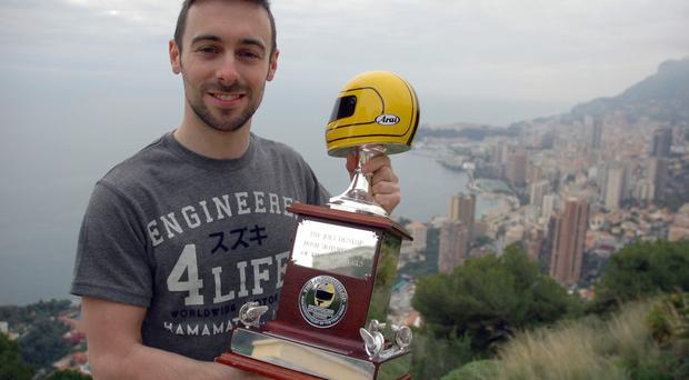 Special moment: Eugene Laverty in Monaco with the Joey Dunlop Trophy, presented to the Motorcyclist of the year