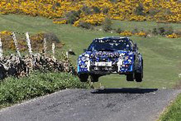 Catching air: Declan Boyle has led the past four rallies but has been unable to cross the line in first place