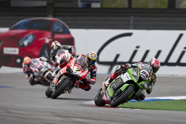 In control: Jonathan Rea on his way to victory in Assen