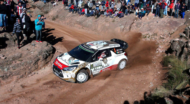 Victory trail: British driver Kris Meeke steers his Citroen DS3 WRC with his co-driver Paul Nagle to a first place finish in Rally of Argentina