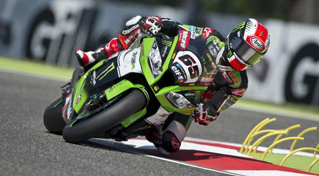 Riding high: Jonathan Rea on his way to his double victory at Imola