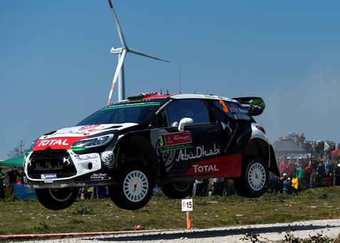 Flying high: Kris Meeke steers his way to second in the Portugal Rally first leg