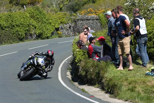 Ian Hutchinson steers his Yamaha to victory in Supersport Race 2 on the Isle of Man