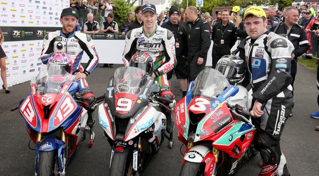 Speed kings: Ian Hutchinson (left) and Lee Johnston (centre) are targeting success at the TT while Michael Dunlop (right) is still keen to perform despite recovering from a shoulder injury