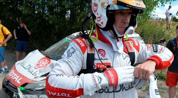 Lucky escape: Kris Meeke was fortunate to be able to walk away unscathed after the crash involving his Abu Dhabi Citroen DS3