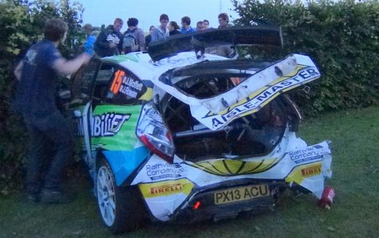 Close call: Josh Moffett and co-driver John Rowen emerged unhurt after crashing in European Championship Ypres eventand