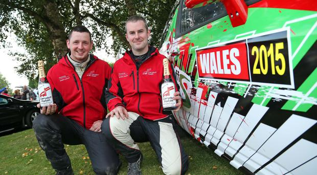 Big winners: Rob Duggan (right) and co-driver Ger Conway with their prize-drive Citroen DS3 for Wales Rally GB