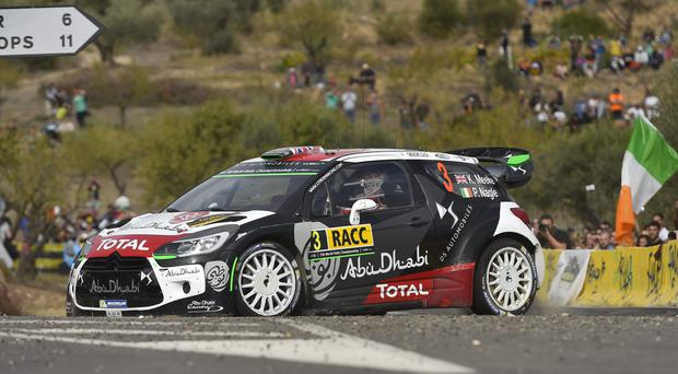 SALOU, SPAIN - OCTOBER 24: Kris Meeke of Great Britain and Paul Nagle of Ireland compete in their Citroen Total Abu Dhabi WRT Citroen DS3 WRC during Day Two of the WRC Spain on October 24, 2015 in Salou, Spain. (Photo by Massimo Bettiol/Getty Images)