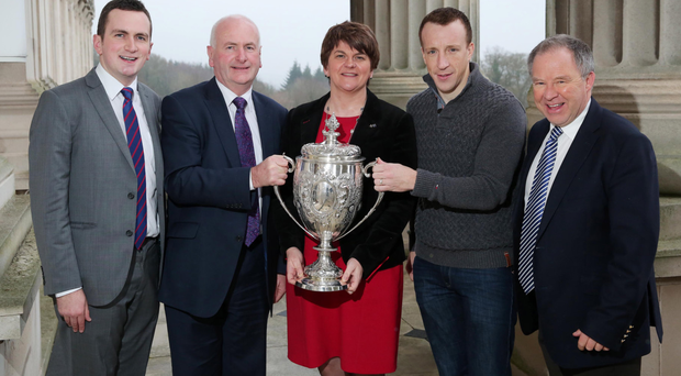 Power politics: Kris Meeke is joined for a celebratory lunch at Stormont by Finance Minister Arlene Foster, MLA Gordon Dunne, Circuit of Ireland director Bobby Willis and Cllr Stephen Dunne