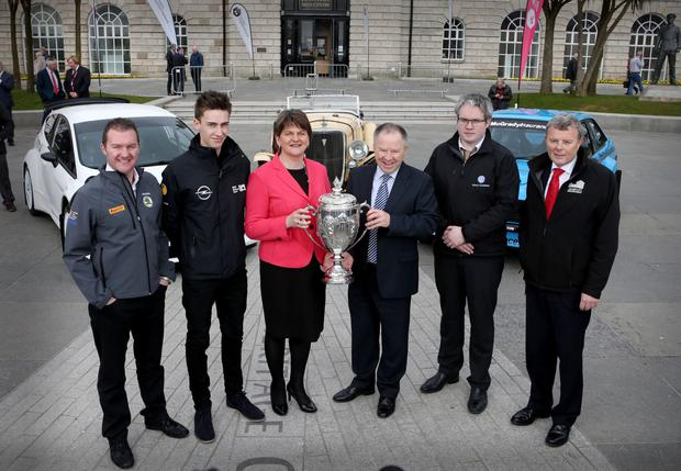 Revved up: First Minister Arlene Foster at the launch of the 2016 Circuit of Ireland Rally with event director Bobby Willis and (from left) former British champion Neil Simpson, FIA ERC junior driver Chris Ingram, Brendan Cumisky and Fintan McGrady