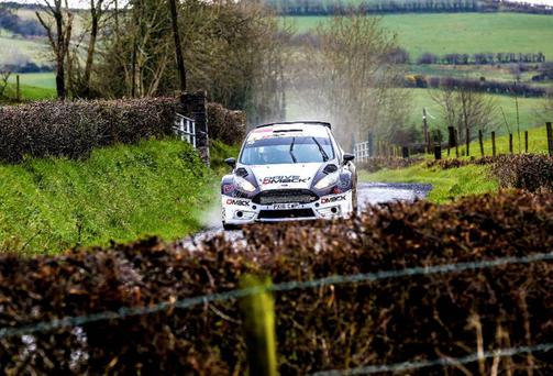 Full power ahead: Elfyn Evans won the Mid Wales Rally, the first round of the British rally championship