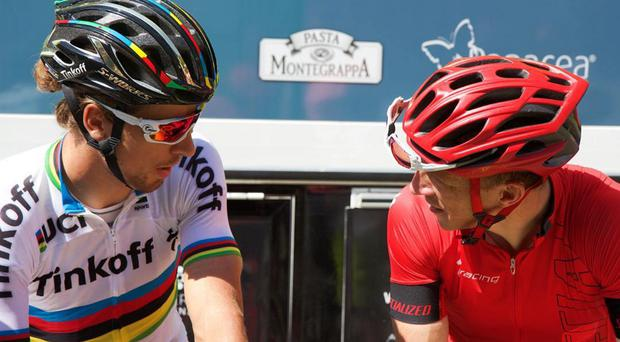 In tandem: road race champion Peter Sagan and Kris Meeke on ride-out