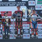 Stepping up: Aaron Wright (centre) and Scott Swann (right), who finished first and third respectively in the British KTM RC Cup series, are now set for the world stage