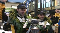 Champions again: Declan Boyle (right) and co-driver James O'Reilly celebrate their title success