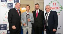 Top man: Reigning British Touring Car champion Colin Turkington, pictured with Nicky Moffett, Hugh Chambers and Henry Campbell, carried off the Northern Ireland Motorsport Award for a second time at the ANICC's celebration night in Armagh.
