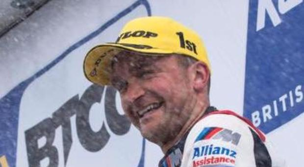 Two-timer: Colin Turkington celebrates his double victory