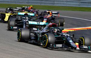 In front: Lewis Hamilton leads the way