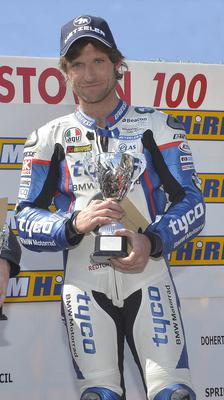 Home first: Guy Martin with his Superbike race prize