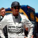 On home ground: Lewis Hamilton