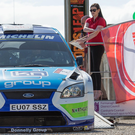 Title tilt: Donagh Kelly is second off the launch ramp in Enniskillen yesterday at the 2015 Todds Leap Ulster Rally