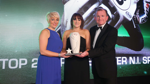 The greatest: Joey Dunlop was named Northern Ireland's Greatest Ever Sports Star (as voted for by Belfast Telegraph readers) and in 2014 his daughters Joanne Dunlop and Donna McLean received the award from Richard McClean (INM Managing Director of Publishing Ireland)