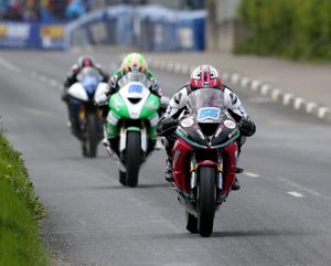 In front: Adam McLean leads the way in the Supersport race at last year's Cookstown 100