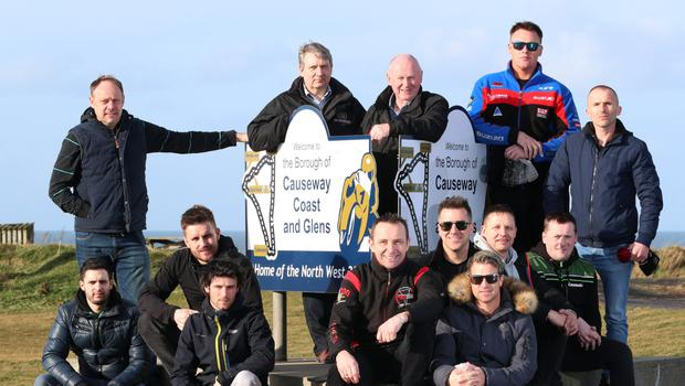 Fresh faces: fonaCAB and Nicholl Oils North West 200 Event Director Mervyn Whyte with Stanleigh Murray, Clerk of the Course, Rider Liaison Officer Steve Plater and newcomers to the event Radley Hughes, Wayne Bourgeais, Barry Graham, Mike Browne, Chris Sarbora, James Ellison, Alun Brooks, David Graham, Brad Clarke and Krystian Paluch on the north coast circuit