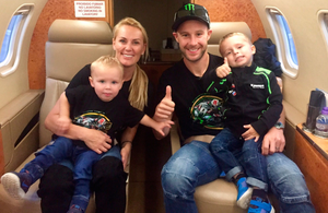 Jonathan Rea with his wife Tatiana and children Jake and Tyler