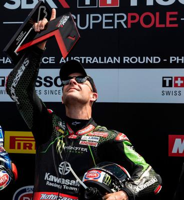 That's for you: Jonathan Rea points to the sky in tribute to his grandmother, who has passed away. 'Heaven has gained an angel tonight. Good night Nanna!!' he posted on Twitter