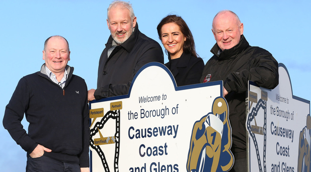 Support: Alan Mulholland and Leone Paul of Olive Branch join Mervyn Whyte, event director of the fonaCAB & Nicholl Oils North West 200, and chief marshal Cathal Cunning to announce the Magherafelt-based group will be the sole designated charity of the 2020 event next May