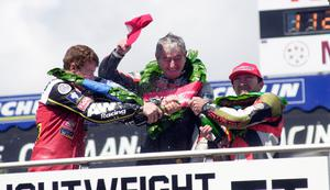 Last hurrah: Joey on the top step of his final TT podium with third-placed Denis McCullough and runner-up Robert Dunlop after the Ultra-Lightweight TT in June 2000. Photo Stephen Davison
