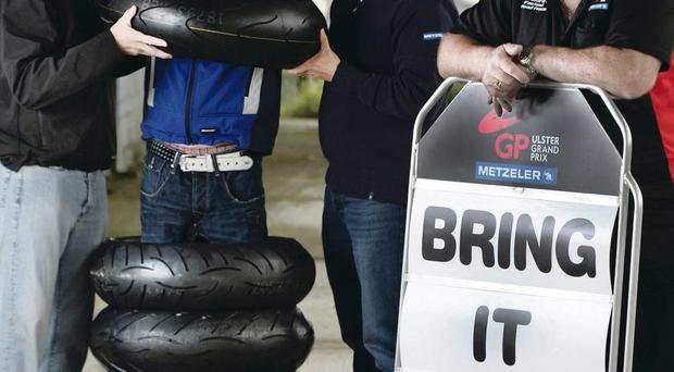 Road racing stars Gary Johnson and Dean Harrison lend their support to the launch of the world's fastest road race, the Metzeler Ulster Grand Prix