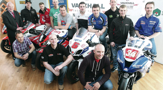 Race Director Mervyn Whyte (left) is joined by Motorcycle Racers Milwaukee Yamaha Josh Brookes and Ian Hutchinson, Peter Hickman Lloyds British GB MOTO Honda, Honda Racing John McGuinness, Michael Dunlop (BMW Motorrad), William Dunlop (Tyco Suzuki)Steve Mercer (Team Traction Control), Stuart Easton (Rapid Solicitors ZX10 Kawasaki) and Alastair Seeley MAR-Train Kawasaki, and KMR Riders Jeremy McWilliams,Ryan Farqhuar and Keith Amor at the Vauxhall International 2014 North West 200 launch at the Titanic Building, Belfast