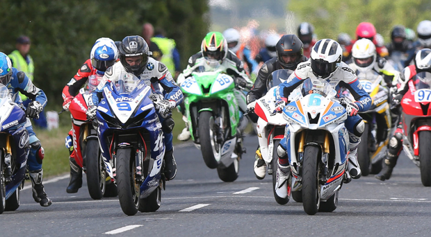 Power-packed: eventual winner William Dunlop alongside Guy Martin and Dean Harrison at the start of the opening 600cc race at the Armoy road races last night