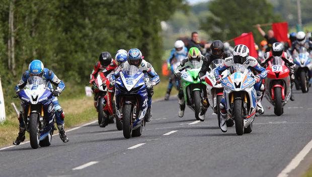 Front-runners: Guy Martin and Dean Harrison at the start of the 600cc race at the Armoy