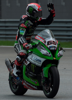 Jonathan Rea celebrates the victory at the end of the Race 1 during the FIM Superbike World Championship