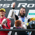 Beard to be feared: Bruce Anstey celebrates his win at Dundrod, which takes his overall tally at the Ulster Grand Prix to 12