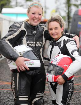 Girl racers: Sarah Boyes and Melissa Kennedy at Dundrod