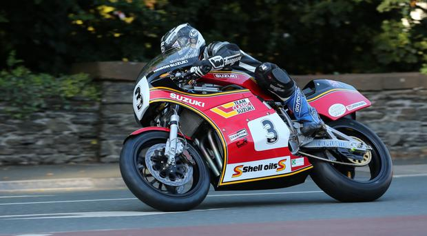 King of the road: Michael Dunlop at Quarterbridge during the opening night's qualifying for the Classic TT on the Isle of Man