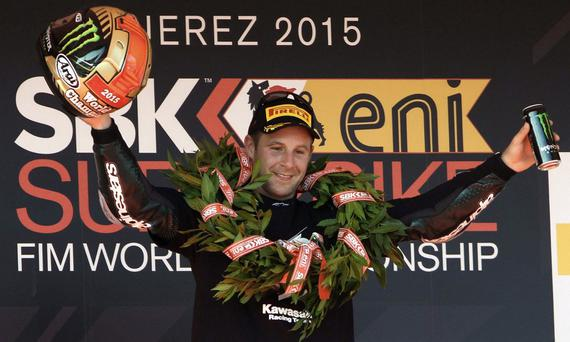 Class act: New world champion Jonathan Rea takes the plaudits from his legion of fans