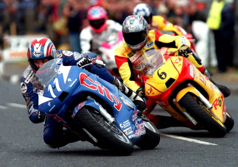 Leading man: Philip McCallen in his pomp racing at the North West 200 in 1999