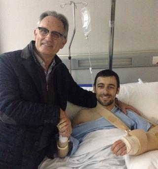 On the mend: Eugene Laverty with Dr Xavier Mir