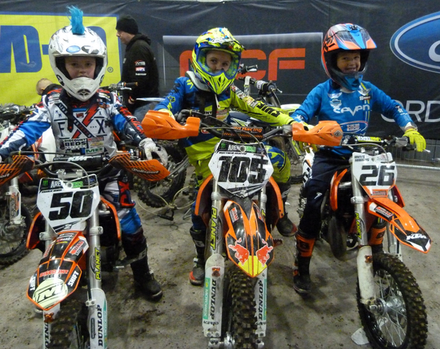 All revved up: young competitors gear up to take part in the Junior category of Arenacross at the SSE Arena in Belfast