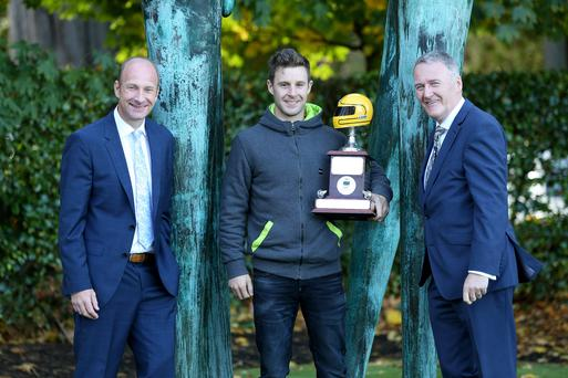 Name on the trophy: World Superbike champion Jonathan Rea aims to keep hold of his Joey Dunlop trophy as Irish Motorcyclist of the Year at the January awards he flew home to launch. Also pictured are sponsor Sam Geddis (right) of Cornmarket Insurance and event compere Stephen Watson