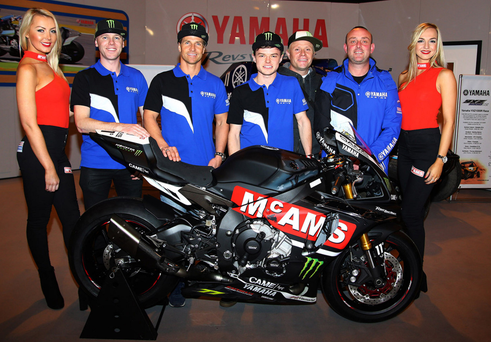 Band parade: Michael Laverty (second left) with his McAMS Yamaha team for 2017 including his British Superbikes team-mate James Ellison, Tarran Mackenzie (British Supersport), team owner Keith Flint of The Prodigy and team manager Grant Bunting