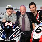 Big night: North West 200 event director Mervyn White launched this year's event alongside local racers Alastair Seeley (left) and Glenn Irwin (right)