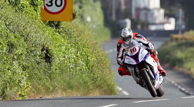 Out in front: Peter Hickman sets the pace at the Isle of Man TT