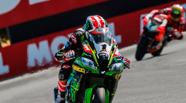 Powering on: Jonathan Rea en route to victory at Laguna Seca
