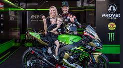 Family to the fore: Jonathan Rea at Magny Cours last weekend with wife Tatia and sons Jake and Tyler