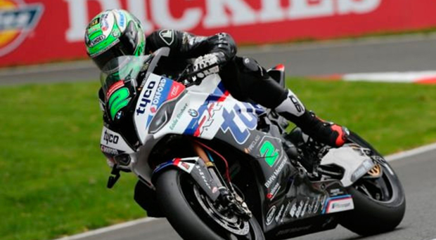 Shock exit: Glenn Irwin racing for Tyco BMW in the British Superbike series